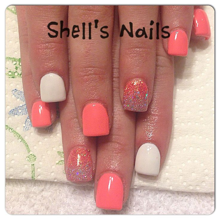 Coral acrylic with gel overlay !! So cute!! Email me!