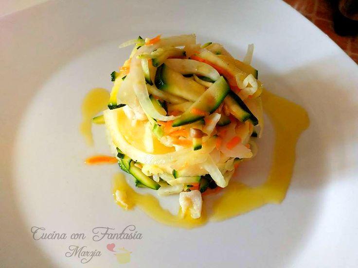Millefoglie di verdure e cuori di nasello