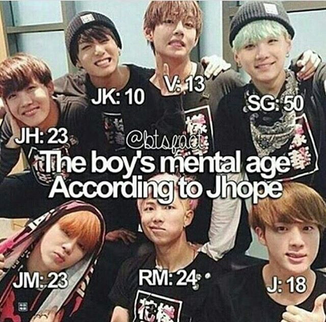 V said he was mentally 3 when asked haha