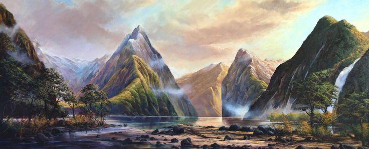 Craig S. Primrose QSM 'Mitre Peak, Milford Sound' (2013) Oil on linen 750 x 1825 mm, POA at the Remuera Gallery