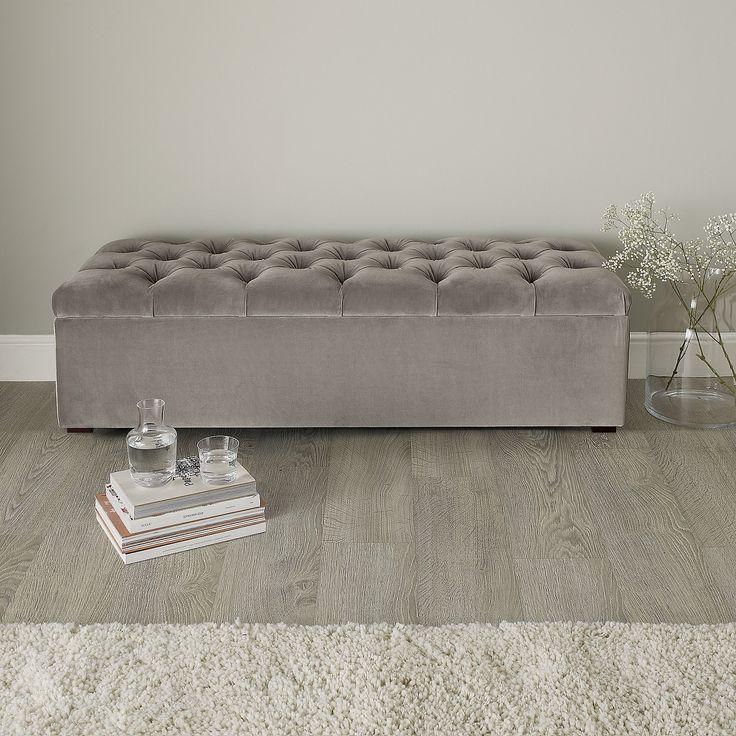 Richmond Ottoman Silver Grey Velvet | Ottomans | Furniture | Home | The White Company UK
