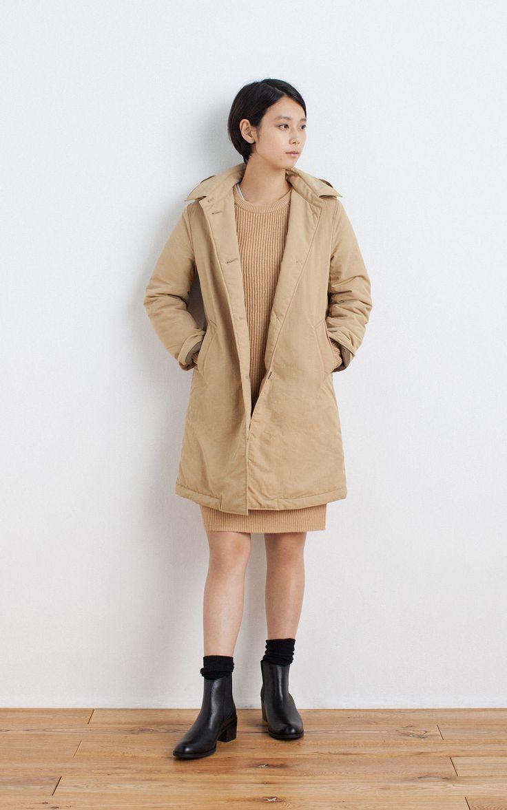 MUJI | WOOL MIDDLE GAUGE RIB KNITTED DRESS | OGC STRETCH CREW NECK L/S T SHIRT (PLAIN)