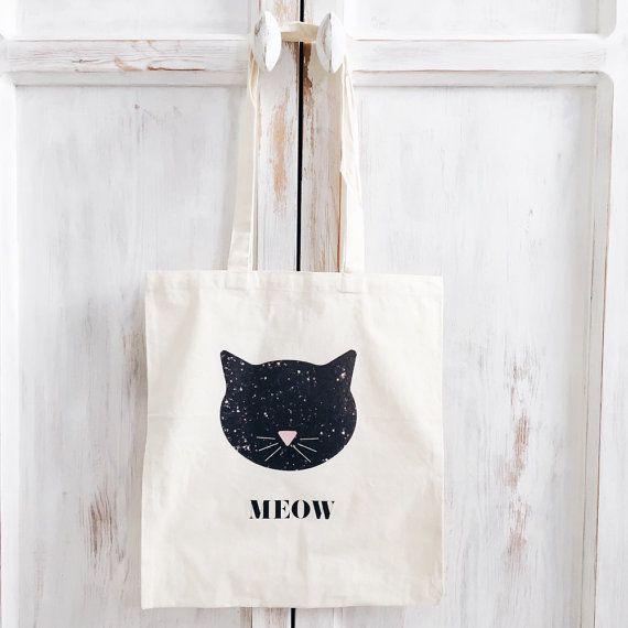 Coton toile pas cher sac kitty chat meow imprimé par elkedagelbrich