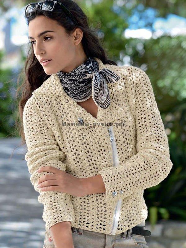 Куртка-косуха, связанная крючком (leather jackets crochet)