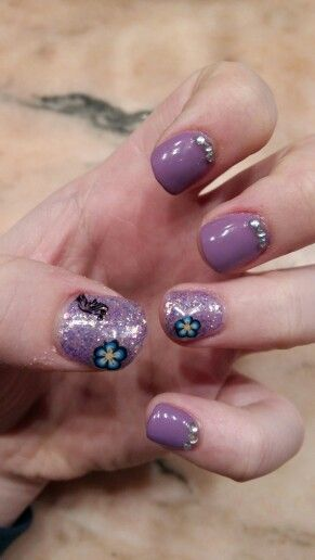 Purple nails inspired by Spring ♡