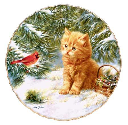 .Christmas - Kitten and cardinal