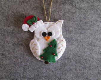 Ornamento in feltro con Gufo di Natale Stella in di TinyFeltHeart