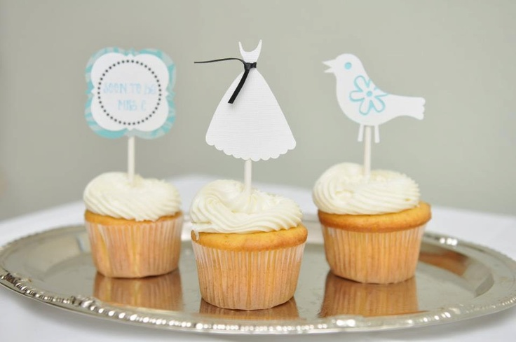 Bridal shower cupcake toppers, Bridal shower party, Wedding shower, wedding dress, cupcake toppers, 12 pieces. $15.00, via Etsy.