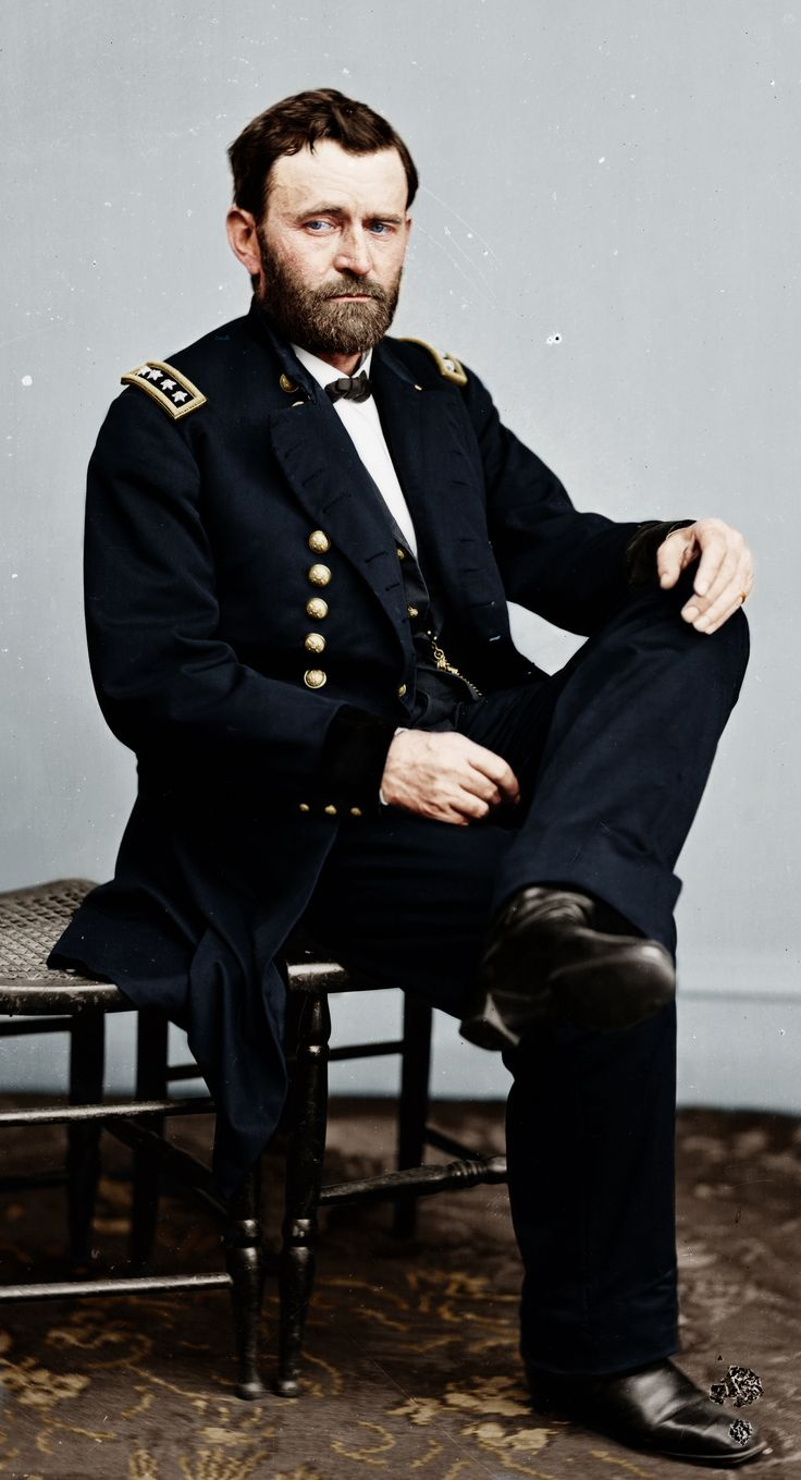 Colorized version of a photograph of Ulysses S Grant taken during the American Civil War.