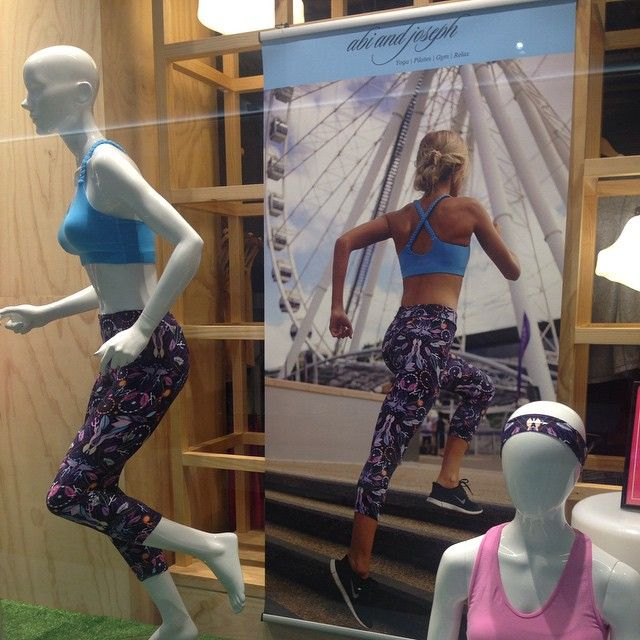 The store window of our abi and joseph store, featuring our new Santa Monica 7/8 Tight and Plaited Crop in Ice Blue