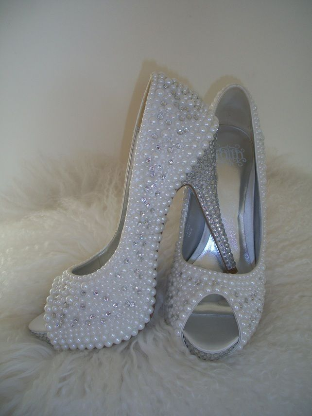 Best 25 pearl shoes ideas on pinterest lace converse shoes shoes for your wedding glam up your boring heels bespoke diamonds and pearl shoes from mad madame mim on folksy junglespirit Image collections