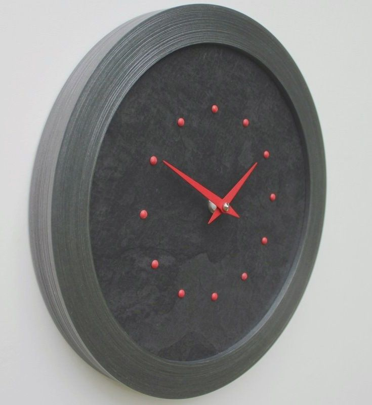 Black Slate Faced Wall Clock with Red Studs and Hands in a Pewter Coloured Frame