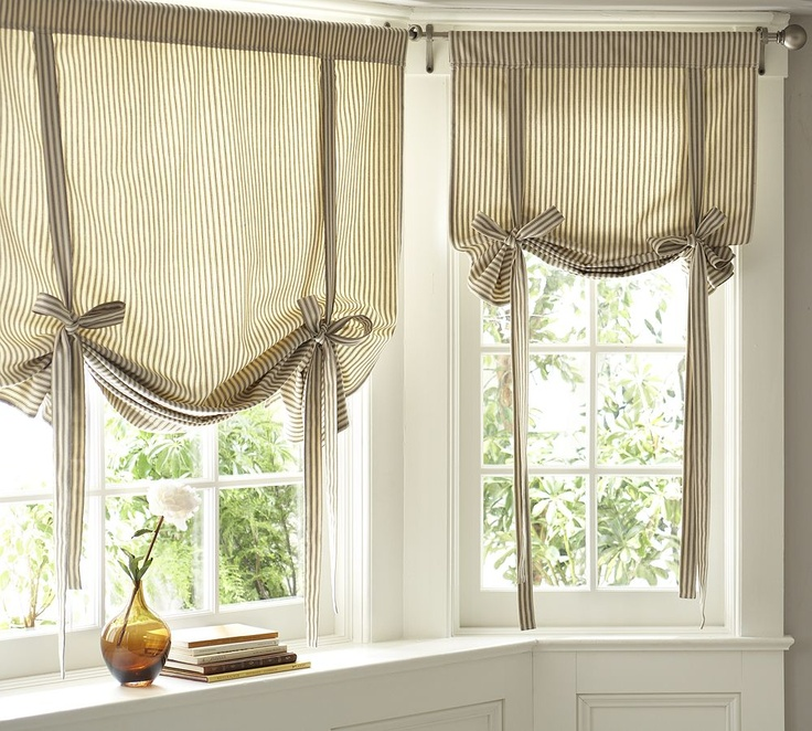 Ribbon-Tie Curtain. -Amy, this is the curtain I was thinking of. You can do it so you can switch the ribbons out if you want to change things a little. Maybe blue and white curtains and a honey gold ribbon?