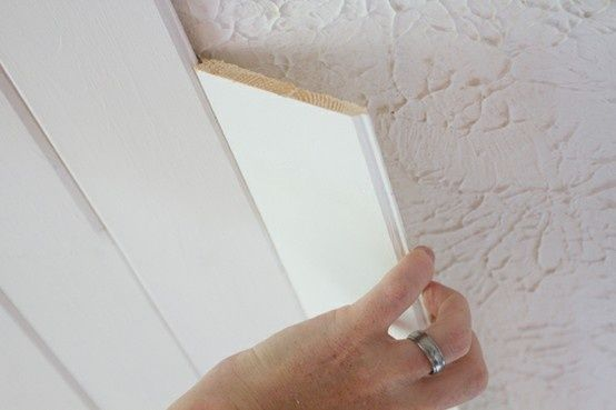 Popcorn Ceiling To Plank Ceiling | The Lettered Cottage.  For a pack of six, 8 long planks, at Lowes:  Eleven dollars.  Each pack of planks covers 14 square feet. (It only cost 155 dollars to do our entire office/guest bedroom!)
