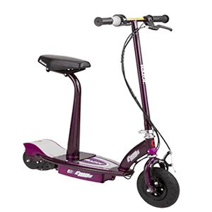 Razor e100s electric scooter with seat in purple, read the full review here http://www.scooterselect.com/razor-electric-scooter-with-seat/