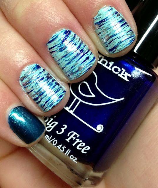 Nails by a Polish Addict: Wintery Fan Brush Nail Art