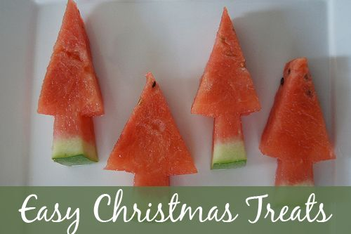 Easy Christmas Treats - super cute and super healthy watermelon Christmas trees.