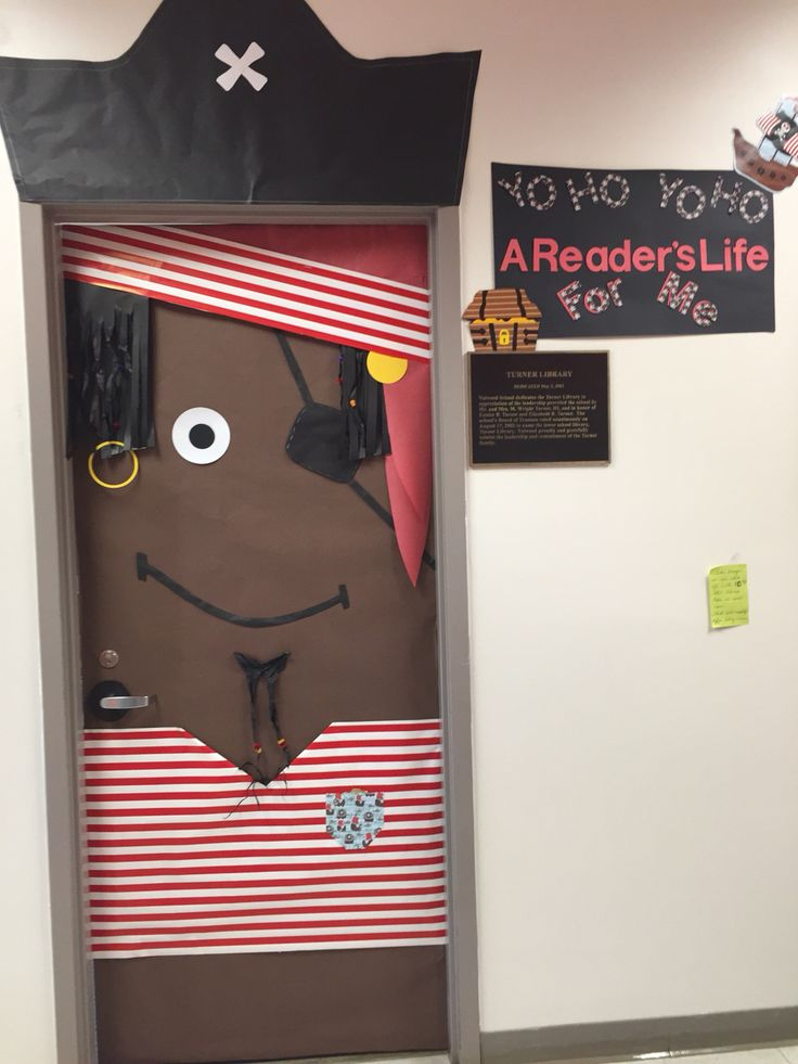 Pirate themed classroom door (incorporated door handle as a hook)
