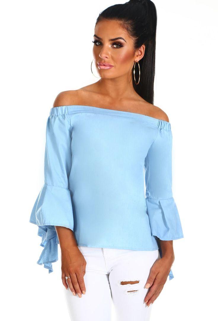 So First Dates Light Blue Denim Bardot Top | Pink Boutique