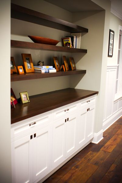 built-ins | KRS Development Services. Like how this has warmth compared to all white built-ins