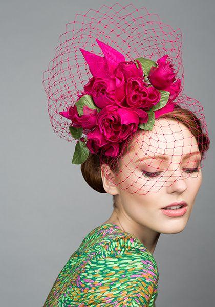 Rachel Trevor Morgan Millinery S/S 2015, R1577 Pink taffeta teardrop with silk roses and veil