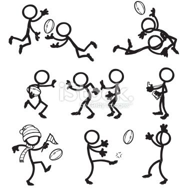 Stick Figure People Aussie Rules Football Royalty Free Stock Vector Art Illustration