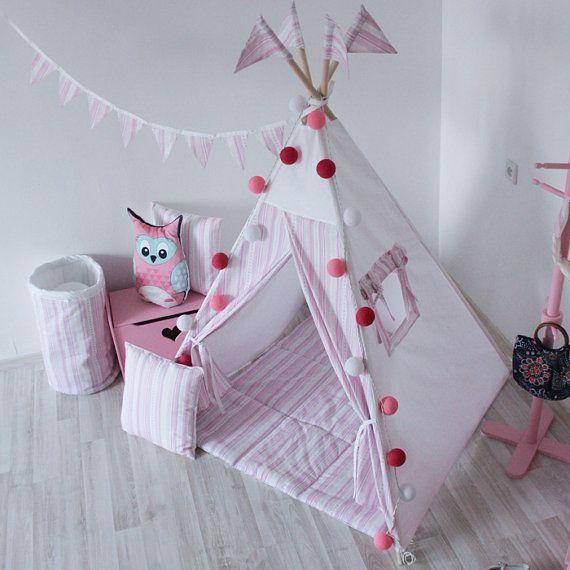 READY TO SHIP Pink Stripes Teepee Play Tent Play от vamvigvam