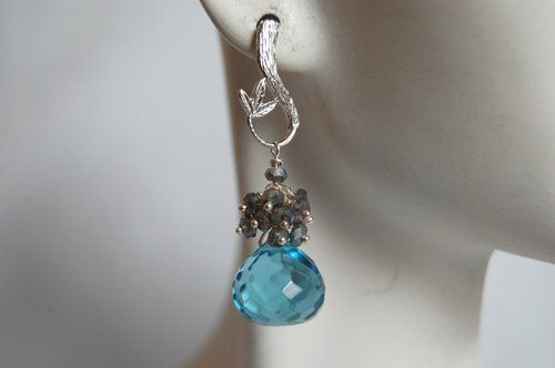 Shoply.com -Blue quartz onion briolette and pyrite earrings. Only C$42.00