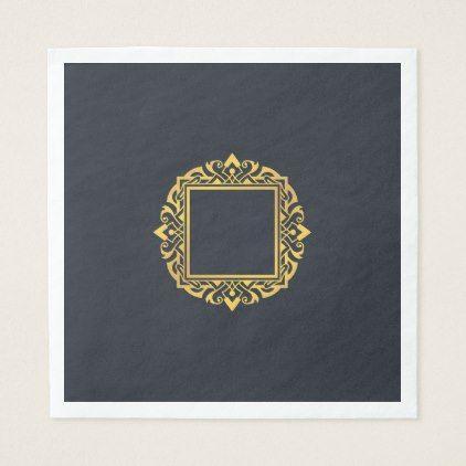 Create Own Monogram Elegant Grey Gold Personalised Napkin - decor gifts diy home & living cyo giftidea