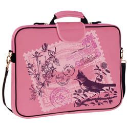 """15.6"""" Pink Stamp Laptop Sleeve w/ handle & shoulder strap - Stylish Pink Laptop Bags & Cases, Pink Diaper Bags, Pink Luggage and Carriers for Women by Rainebrooke Designs"""