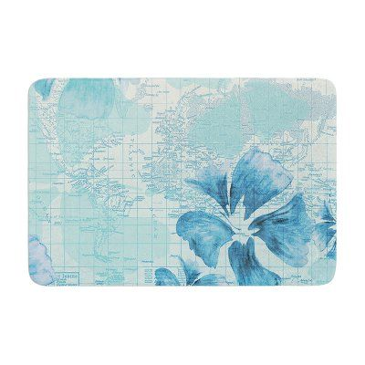 KESS InHouse Catherine Holcombe Flower Power Map Memory Foam Bath Mat - CH1037CBM01, Durable