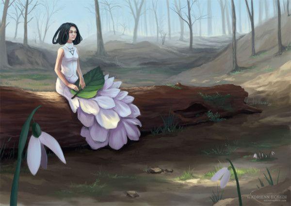 Snowdrop - Digital painting by Adrienn Ecsedi, 2015