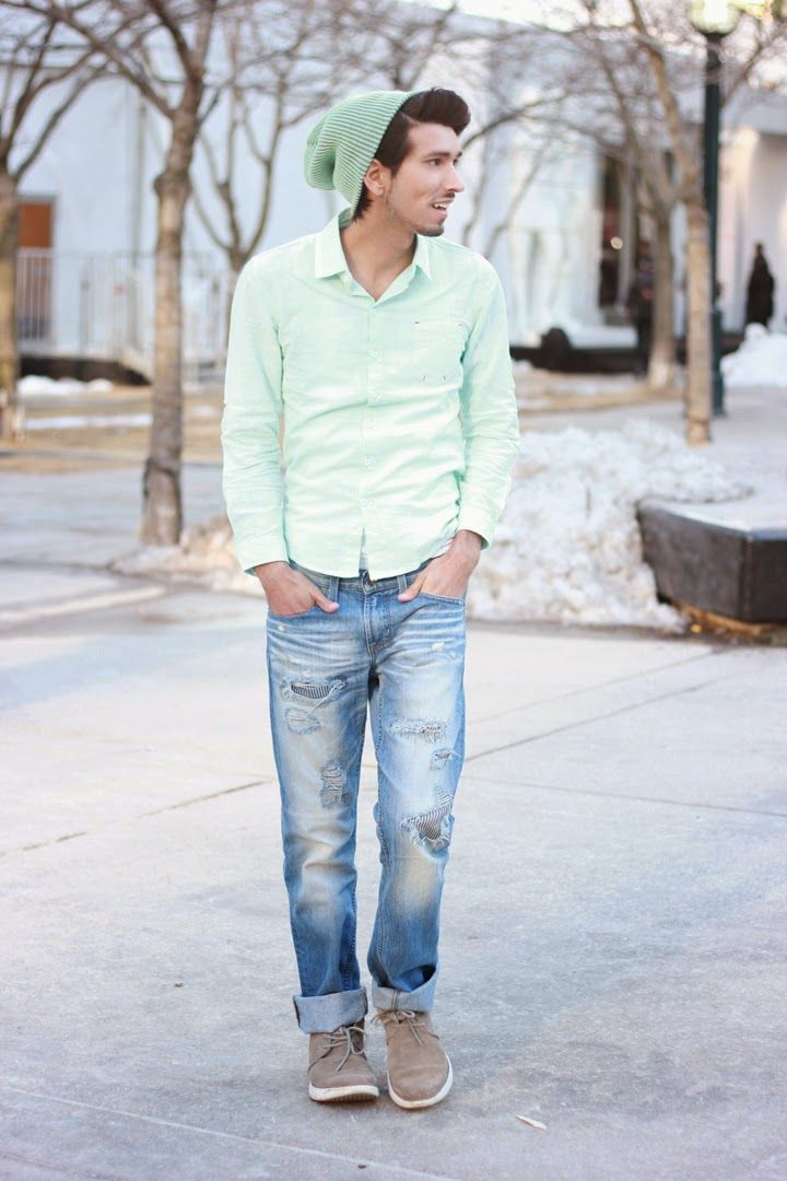 Shop this look for $110:  http://lookastic.com/men/looks/mint-beanie-and-mint-longsleeve-shirt-and-blue-jeans-and-grey-desert-boots/1612  — Mint Beanie  — Mint Longsleeve Shirt  — Blue Jeans  — Grey Suede Desert Boots