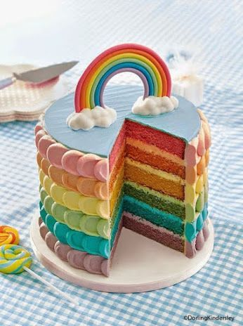 Rainbow layer cake // kids party ideas