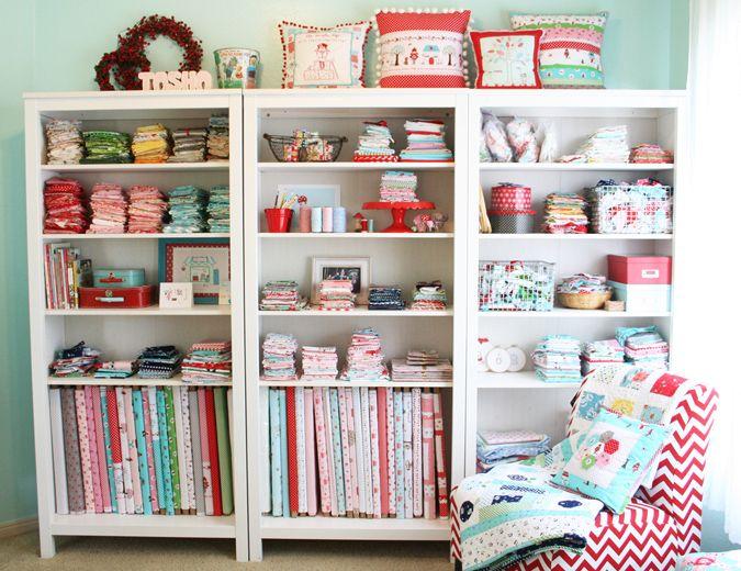 Sewing studio shelves fabric storage