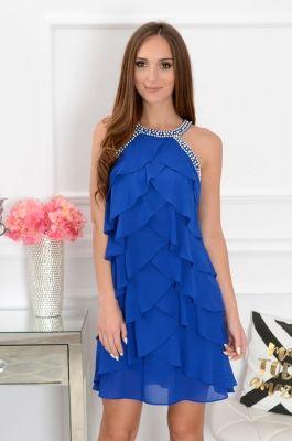 c16af4e5d104 Šifónové volánové šaty s perličkami Belissa CO-38024 kráľovská modrá ...