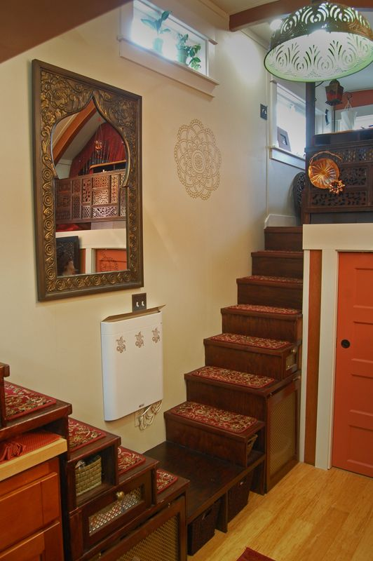 Tiny House on Wheels - Dual storage staircases featuring baskets, drawers and Moroccan screens