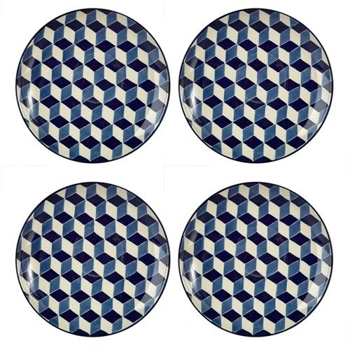 Plates 3-D blue set4 - pols potten