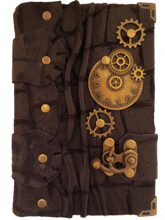 Handmade steampunk vintage antique victorian clock gears time travel crocodile pattern luxury black leather journal notebook sketchbook