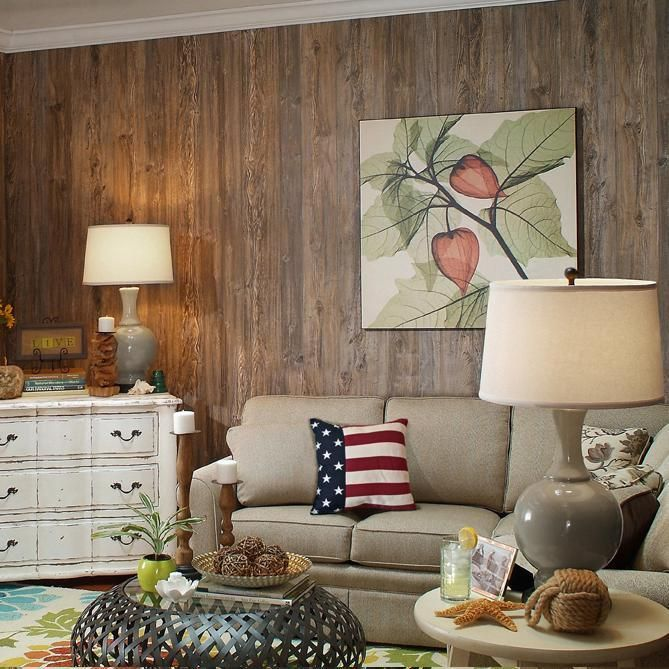 (http://newenglandclassic.com/weathered-cedar-plywood-paneling-9-groove/) The paneling would go great as an accent wall.