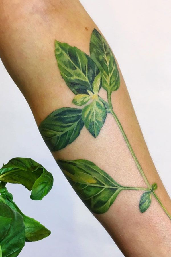 10 Tattoo Artists Delivering Major Ink Inspiration On Instagram #refinery29  http://www.refinery29.com/best-tattoo-artists-instagram-photos#slide-14  This basil tattoo is fresh from the garden....