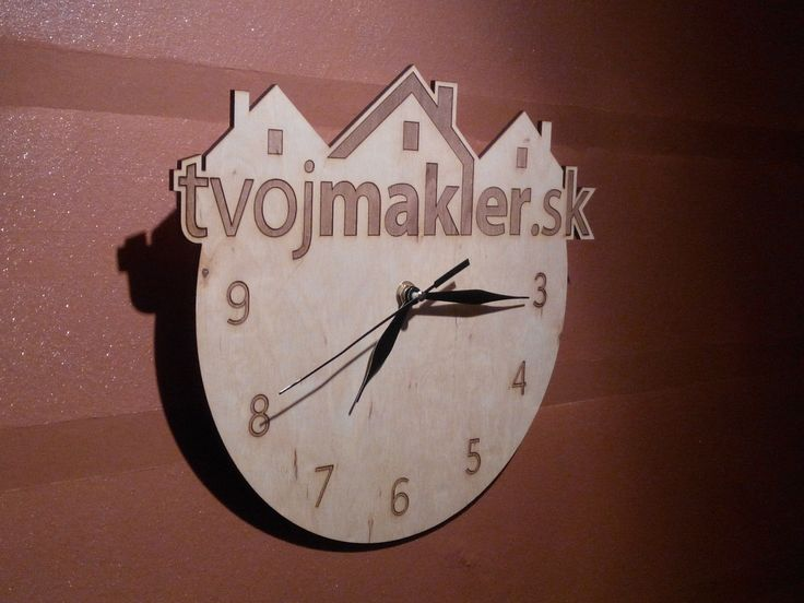 Wooden wall clock for www.tvojmakler.sk