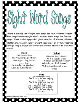Songs for Sight Words - a HUGE list of songs to make learning sight words easy and fun!