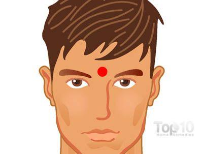 Pour la fatigue chronique et la fatigue oculaire Le point d'acupression du 3e Oeil -(GV 24.5) est bon pour calmer votre esprit, améliorer la mémoire, soulager le stress, la fatigue chronique, les maux de tête, la fatigue oculaire et l'insomnie. Il aide aussi à soulager la douleur des sinus et de la congestion. Ce point est considéré comme bénéfique pour les déséquilibres émotionnels et spirituels.