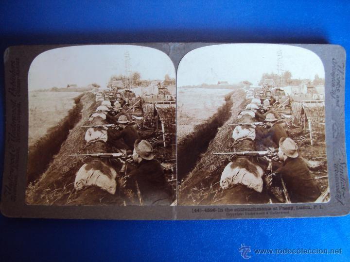 (ES-881)FOTOGRAFIA ESTEREOSCOPICA DE SOLDADOS AMERICANOS ATRICHERADOS EN PASAY,FILIPINAS - Foto 1