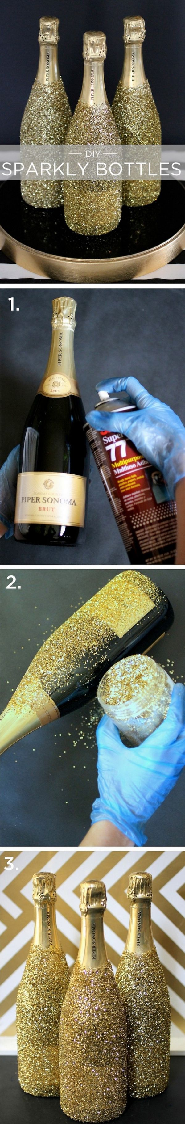 "perfect glitter ""wine bottles"" (in my case sparkling cider) perfect for a New Year's Eve party"