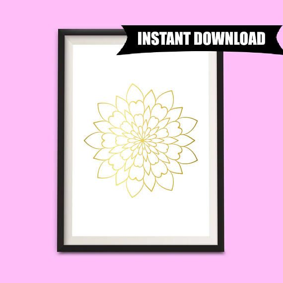 Gold Wall Art, Gold Print, Mandala Wall Hanging, Instant Download Art A4 Print, Digital Printables, Gold and White Decor, Wall Art (P5)