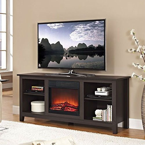 Espresso Wood Tv Stand With Electric Fireplace Heater Insert Electric Fireplaces Tv Stands