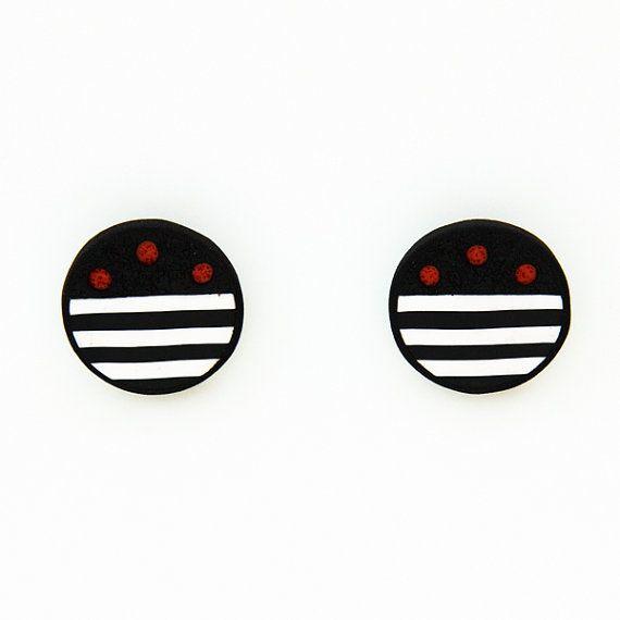 Minimal stud handmade polymer clay earrings