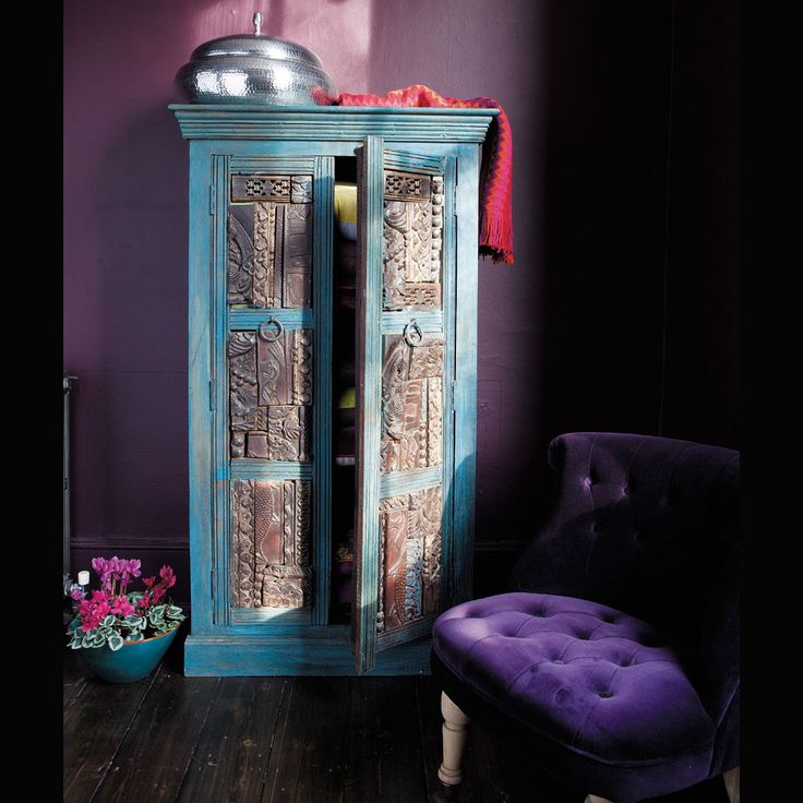 armoire en bois recycl bleue effet jodhpur armoires indien et taj mahal. Black Bedroom Furniture Sets. Home Design Ideas